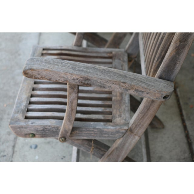 Vintage Set of Teak Outdoor Patio Chairs For Sale - Image 4 of 13