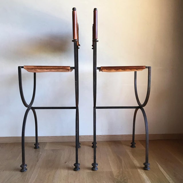 Black Rare Vintage Restored Hand Forged Solid Iron Campaign Safari Spanish Saddle Leather Rustic Neoclassical Bar Stools - a Pair For Sale - Image 8 of 13
