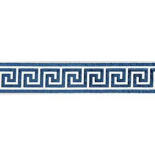 Sample, Scalamandre Greek Key Velvet Tape, Indigo For Sale