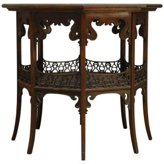 Middle Eastern Octagonal Relief Carved Top Table For Sale