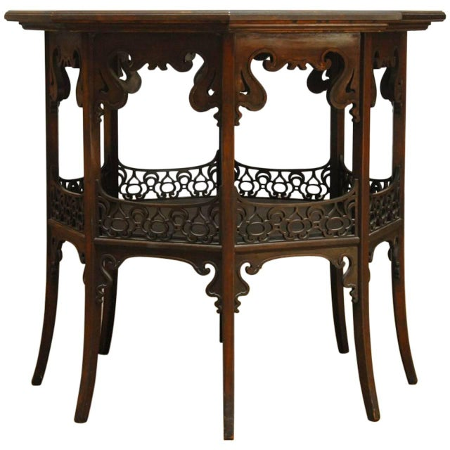 Middle eastern octagonal relief carved top table chairish