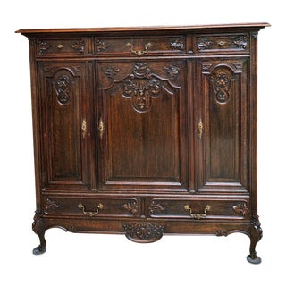 19th Century French Louis XV Brass Carved Dark Oak Sideboard For Sale