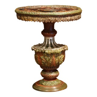 19th Century Italian Carved Gilt Wood and Painted Side Table With Eglomise Top For Sale