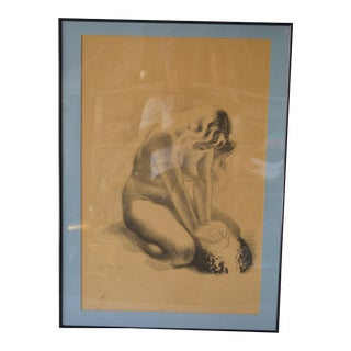 Vintage Drawing of a Nude Woman For Sale