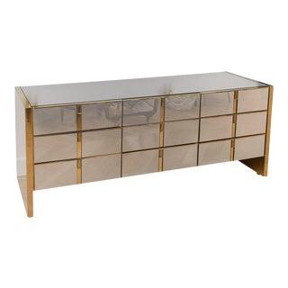 Ello Furniture Co Brass and Mirrored Brass Nine-Drawer Dresser