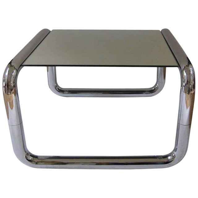 Mid-Century Modern Chromed Tubular Metal Side Table With Floating Mirrored Top - Image 1 of 7