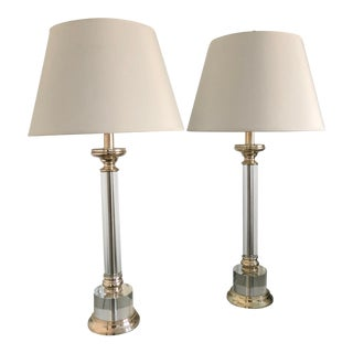 Crystal Table Lamps - A Pair For Sale