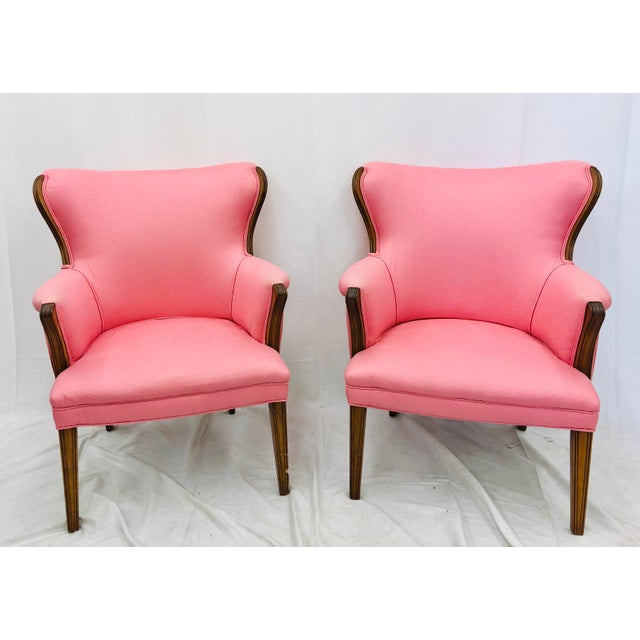 Pair Vintage Mid Century Modern Arm Chairs With Pink Upholstery For Sale - Image 10 of 10