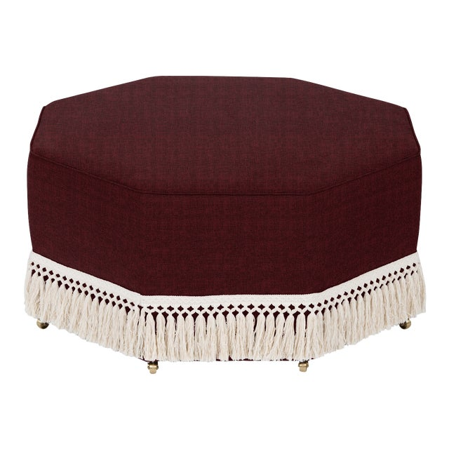 Transitional Casa Cosima Istanbul Cocktail Ottoman, Merlot For Sale - Image 3 of 3