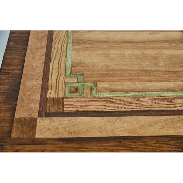 Brass English Oak Writing Table With Inlaid Top For Sale - Image 7 of 9