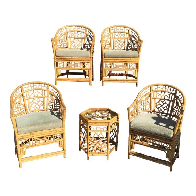 4 Chinese Chippendale Bamboo Chairs and Small Table For Sale