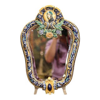 19th Century French Painted Ceramic Vanity Mirror With Joan of Arc Medallion For Sale