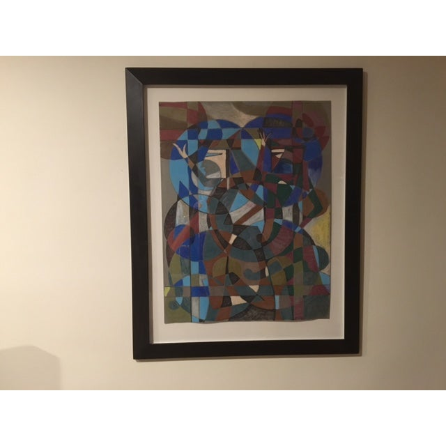 """Aoe"" Mid-Century Abstract Painting - Image 2 of 5"