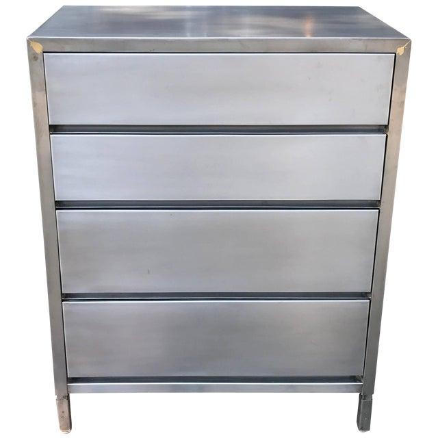 Machine Age Streamlined Brushed Steel Dresser by Superior Sleeprite For Sale