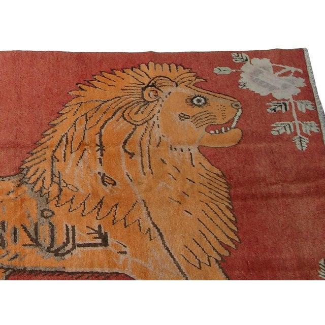 Primitive 19th Century Antique Uzbek Samarkand With Lion Design - 6'4'X4'5ft For Sale - Image 3 of 6