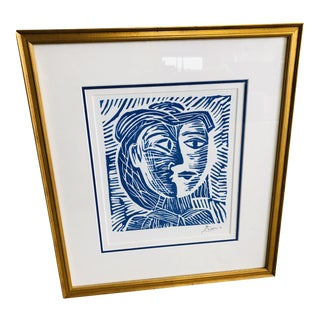 Woman in Hat Picasso Linocut on Paper For Sale