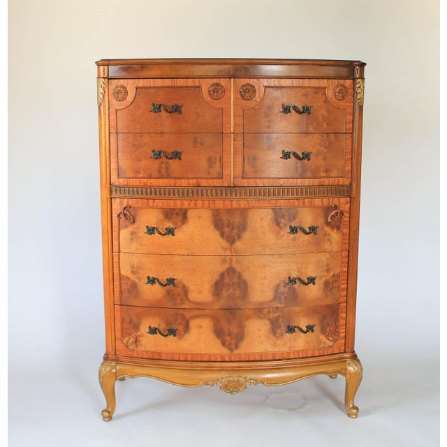 Louis XV Burlwood Bow Front Tall Dresser For Sale - Image 13 of 13