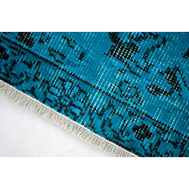 """Cyan Blue Overdyed Turkish Hand Knotted Rug - 6'5"""" X 10' For Sale In Raleigh - Image 6 of 10"""
