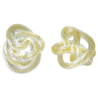 Signed Zanetti Murano Glass Knots - A Pair For Sale