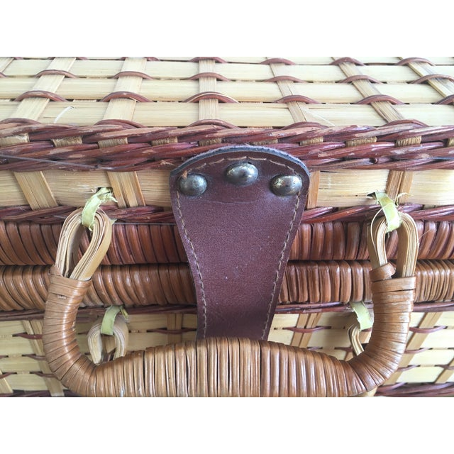 Blue Plaid-Lined Rattan Picnic Basket - Vintage - Image 5 of 11