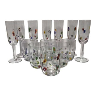 Vintage Hand Blown Murano Millefiore Glasses - Set of 13 For Sale