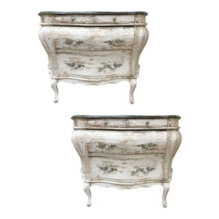 Vintage Venetian Painted Bombe Commodes - a Pair For Sale