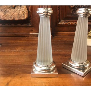 Frosted Glass and Sterling Silver Column Form Candlesticks - a Pair Preview