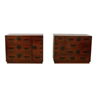 Amazing Pair of Vintage Modern Tansu Chests by Baker For Sale