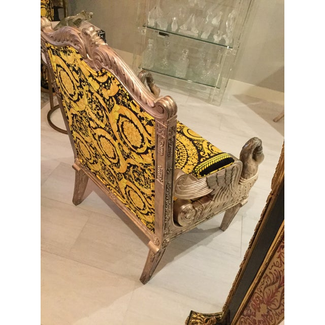 Yellow 1960s Vintage Gianni Versace Black Gold Upholstery Throne Swan Chair For Sale - Image 8 of 13