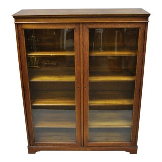 Antique Golden Oak Wood Glass Two Door Small Mission Bookcase Curio Cabinet For Sale