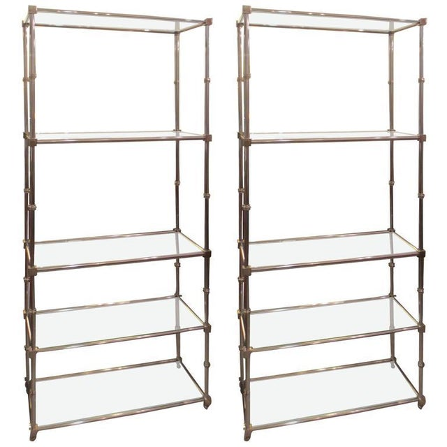 Pair of Chrome Etageres/Bookcases With Glass Shelves For Sale - Image 9 of 9