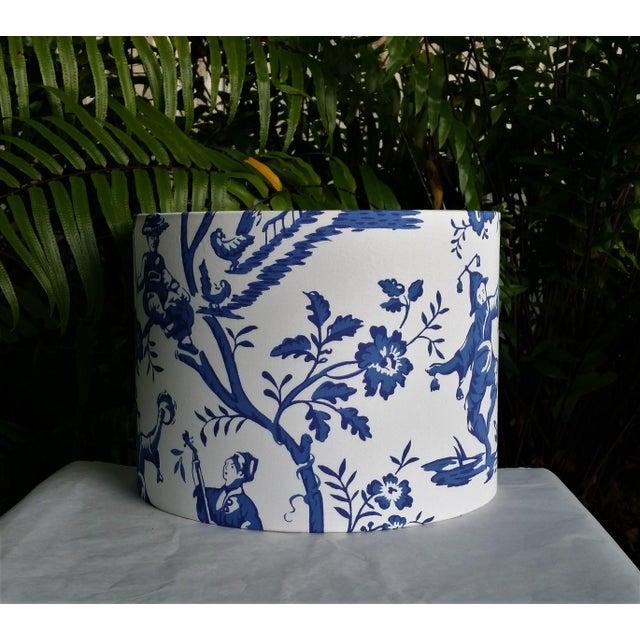 Blue Cobalt Blue White Cotton Duralee Suri Fabric Drum Lampshade For Sale - Image 8 of 11