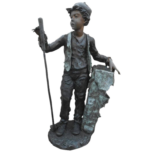 Sculptural Bronze Caddy Statue For Sale