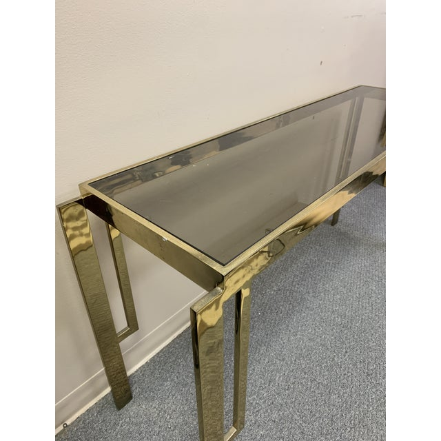 Mid-Century Modern Mid Century Modern Gold Chrome & Glass Console Table For Sale - Image 3 of 8