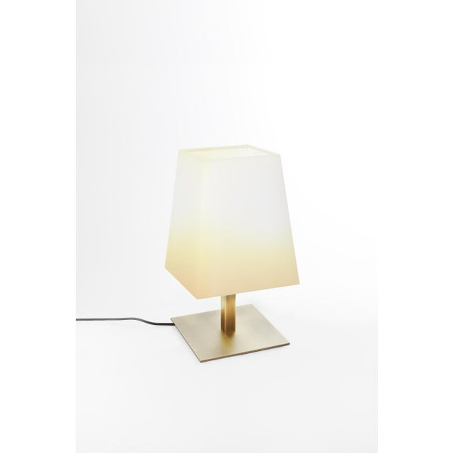 Contardi Lighting Contardi Quadra Table Lamp in Satin Bronze W/ Cotton Shade For Sale - Image 4 of 4