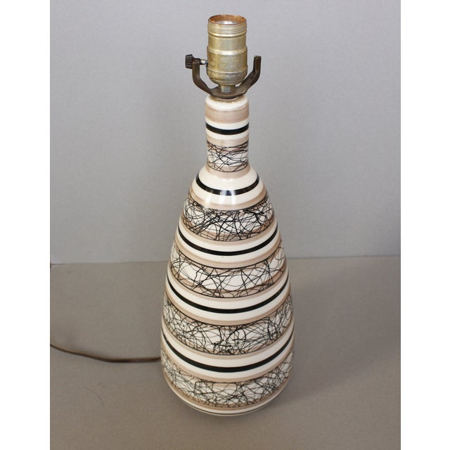 Large Ceramic Mid-Century Modern Pottery Lamp - Image 3 of 6
