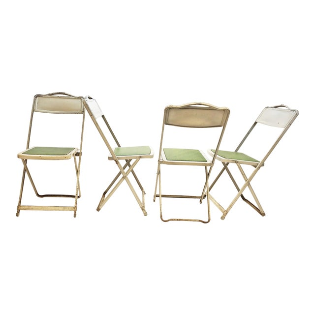 Vintage White Metal Folding Chairs With Green Vinyl Seats - Set of 4 For Sale