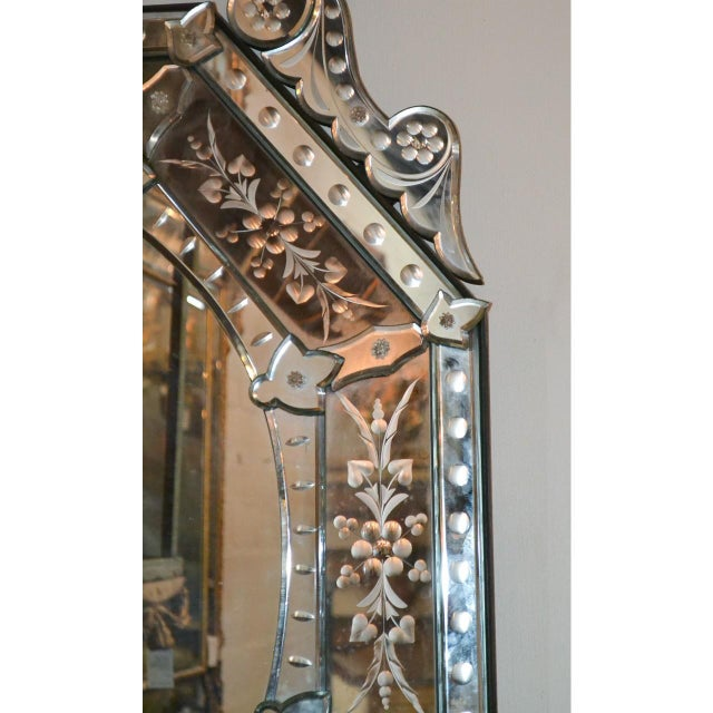 Italian Early 20th Century Venetian Etched Cushion Mirror For Sale - Image 3 of 6