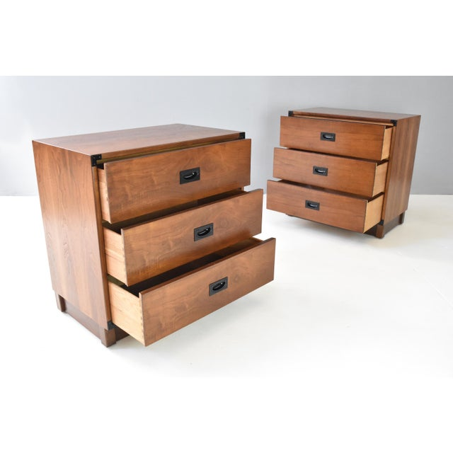 Mid- Century Campaign Style Chests by Drexel - a Pair For Sale In Orlando - Image 6 of 13