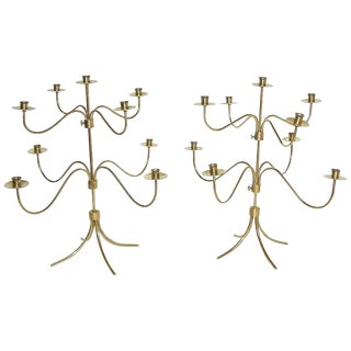 1950s Swedish Josef Frank Brass Nine-Arm Candelabras - a Pair