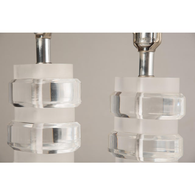 1970s Mid-Century Modern Lucite Lamps - a Pair For Sale - Image 10 of 13