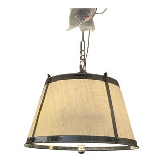 Linen and Polished Nickel Contemporary Chandelier For Sale