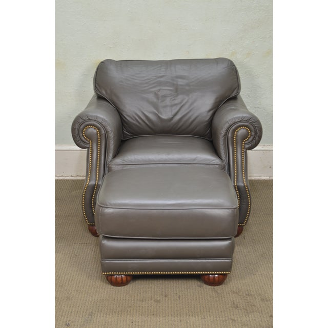 Quality Leather Club Chair W/ Ottoman For Sale - Image 9 of 12