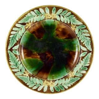 English Majolica Cheese Tray, Tortoiseshell w/ Butter Cup & Fern Leaf Border For Sale