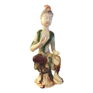 Mid-Century Ceramic Pottery Drip Glaze Goddess Figurine For Sale