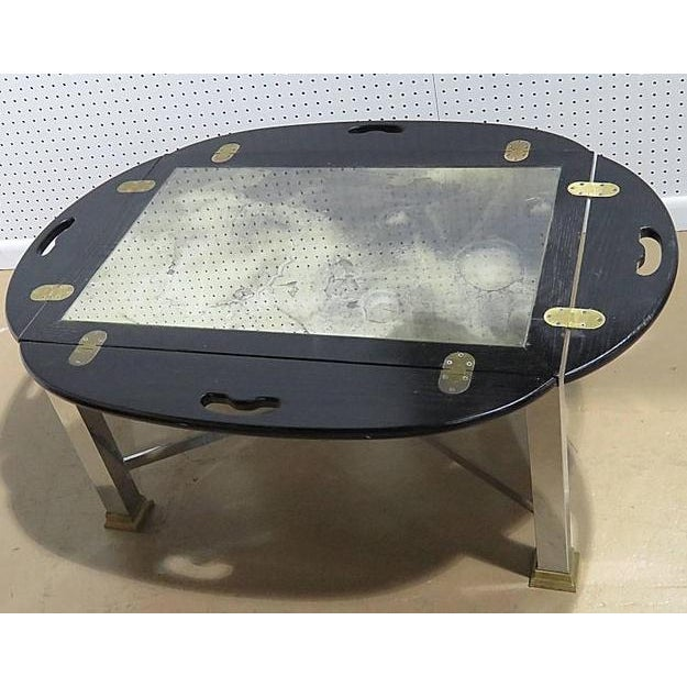 Mid Century Vintage Hollywood Regency Style Butler's Table For Sale - Image 4 of 7
