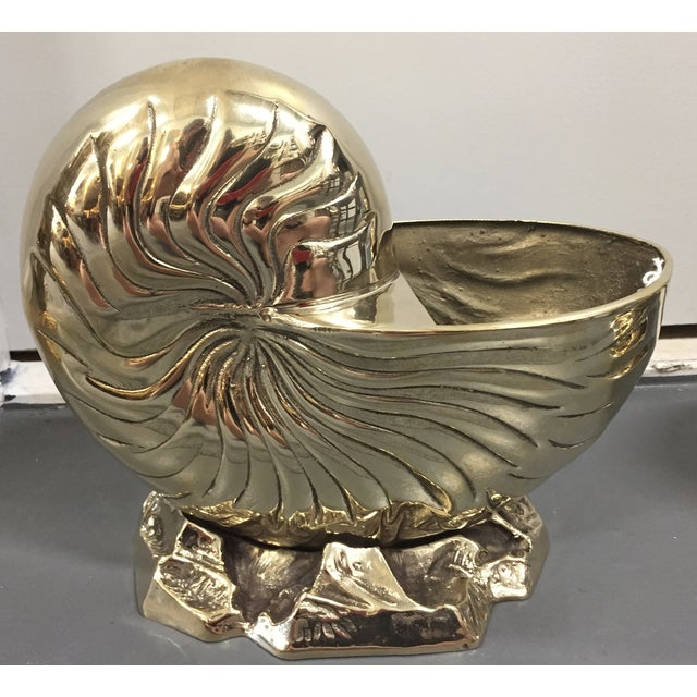Vintage Brass Nautilus Shell Planters - A Pair - Image 5 of 8