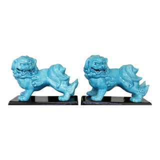 Vintage Turqouise Foo Dogs- Set of 2 For Sale
