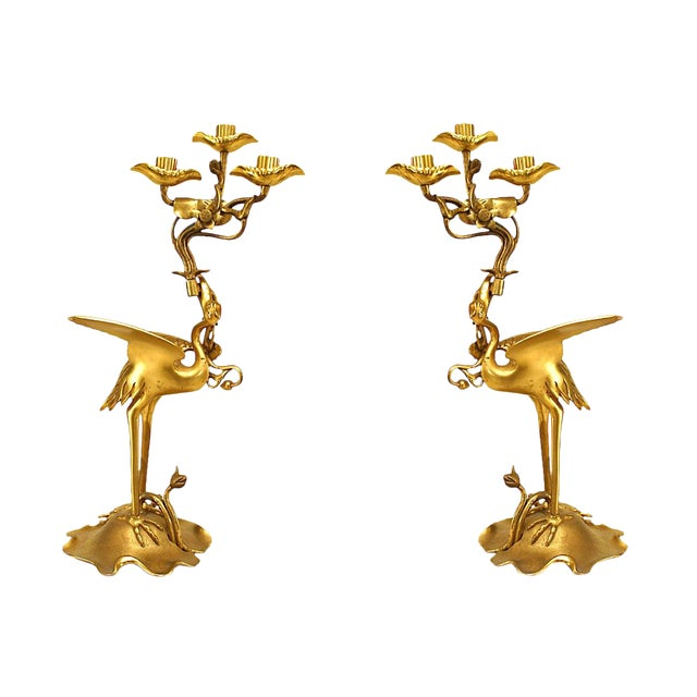 Pair of 19th Century English Regency Bronze Doré Heron Candelabra For Sale