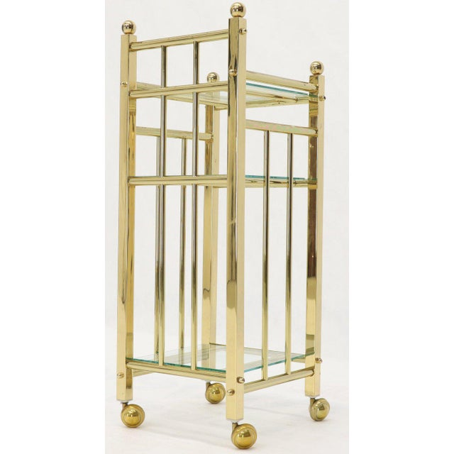 Mid-Century Modern Brass and Glass Square Stand Table Cart Pedestal on Wheels For Sale - Image 9 of 13